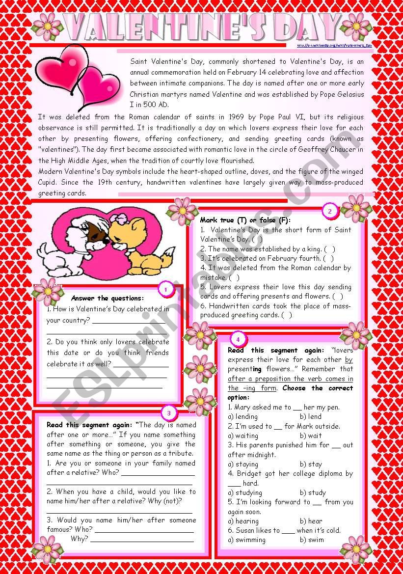 Valentine's Day – reading comprehension + grammar (-ing after prepositions) [4 tasks] KEYS INCLUDED ((2 pages)) ***editable